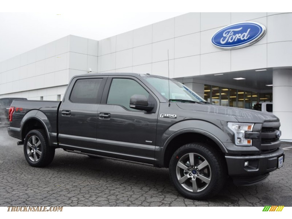 2015 F150 Lariat SuperCrew 4x4 - Magnetic Metallic / Black photo #1