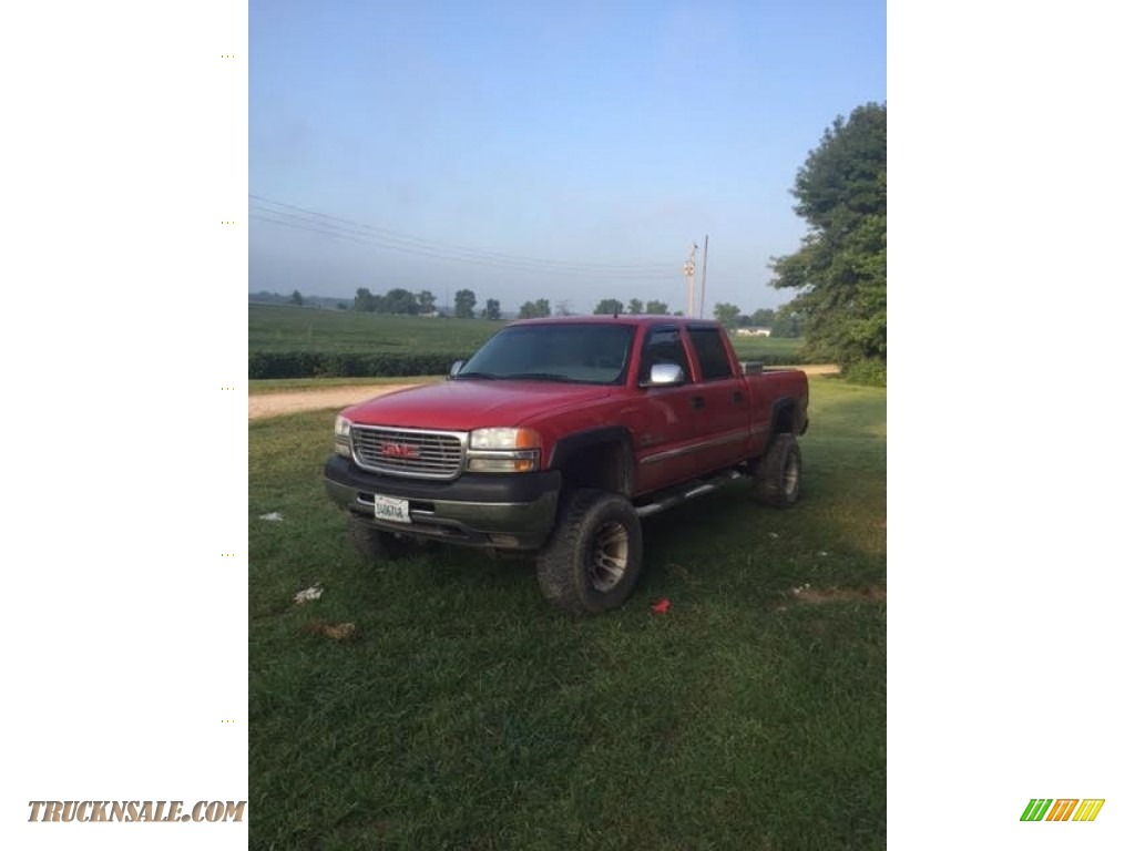 2002 Sierra 2500HD SLT Crew Cab 4x4 - Fire Red / Pewter photo #1