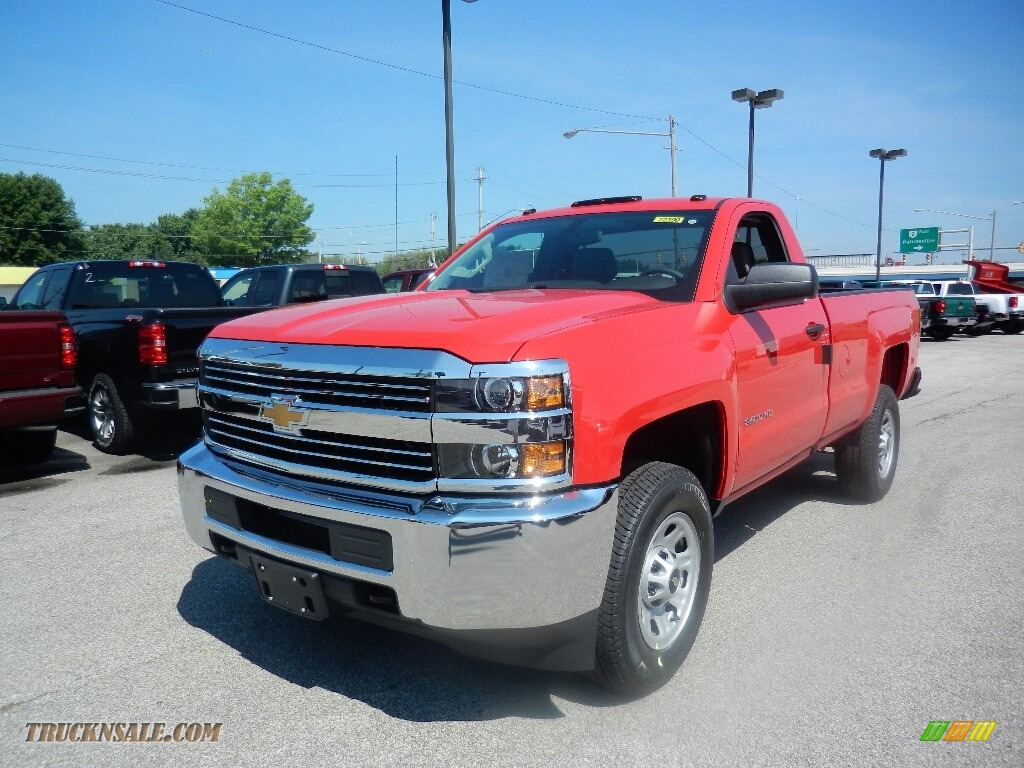 2017 Silverado 2500HD Work Truck Regular Cab 4x4 - Red Hot / Dark Ash/Jet Black photo #1