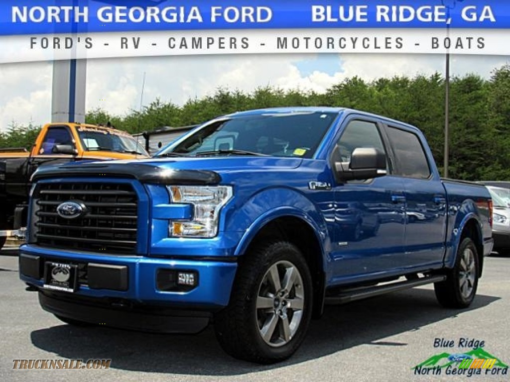 2015 F150 XLT SuperCrew 4x4 - Blue Flame Metallic / Black photo #1