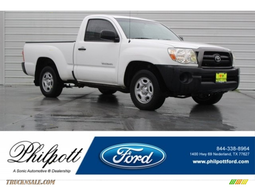 2008 Tacoma Regular Cab - Super White / Graphite Gray photo #1