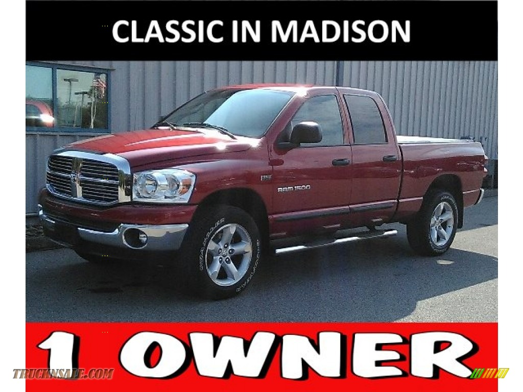2007 Ram 1500 SLT Quad Cab 4x4 - Inferno Red Crystal Pearl / Medium Slate Gray photo #1