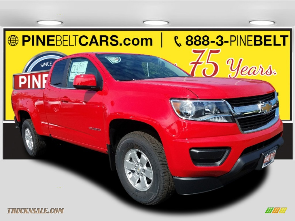 2018 Colorado WT Extended Cab 4x4 - Red Hot / Jet Black/Dark Ash photo #1