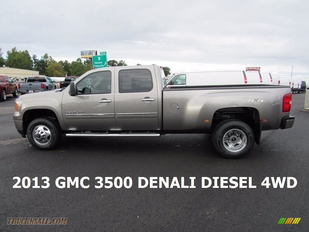2013 Sierra 3500HD Denali Crew Cab 4x4 Dually - Steel Gray Metallic / Cocoa/Light Cashmere photo #2