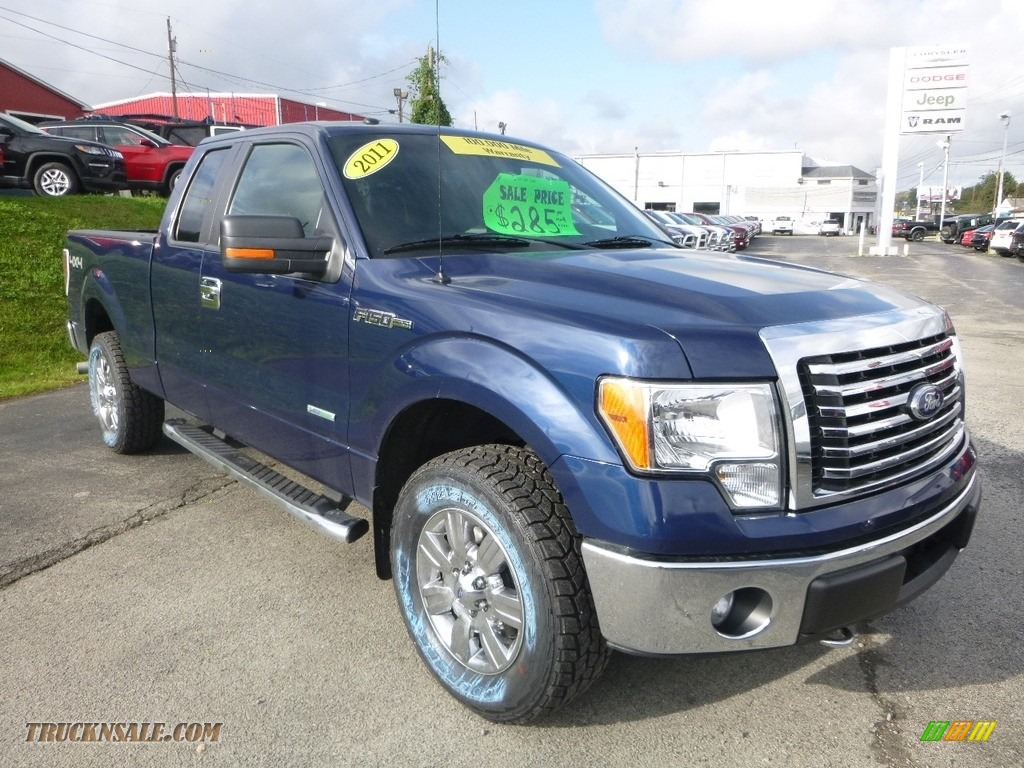 2011 F150 XLT SuperCab 4x4 - Blue Flame Metallic / Steel Gray photo #7