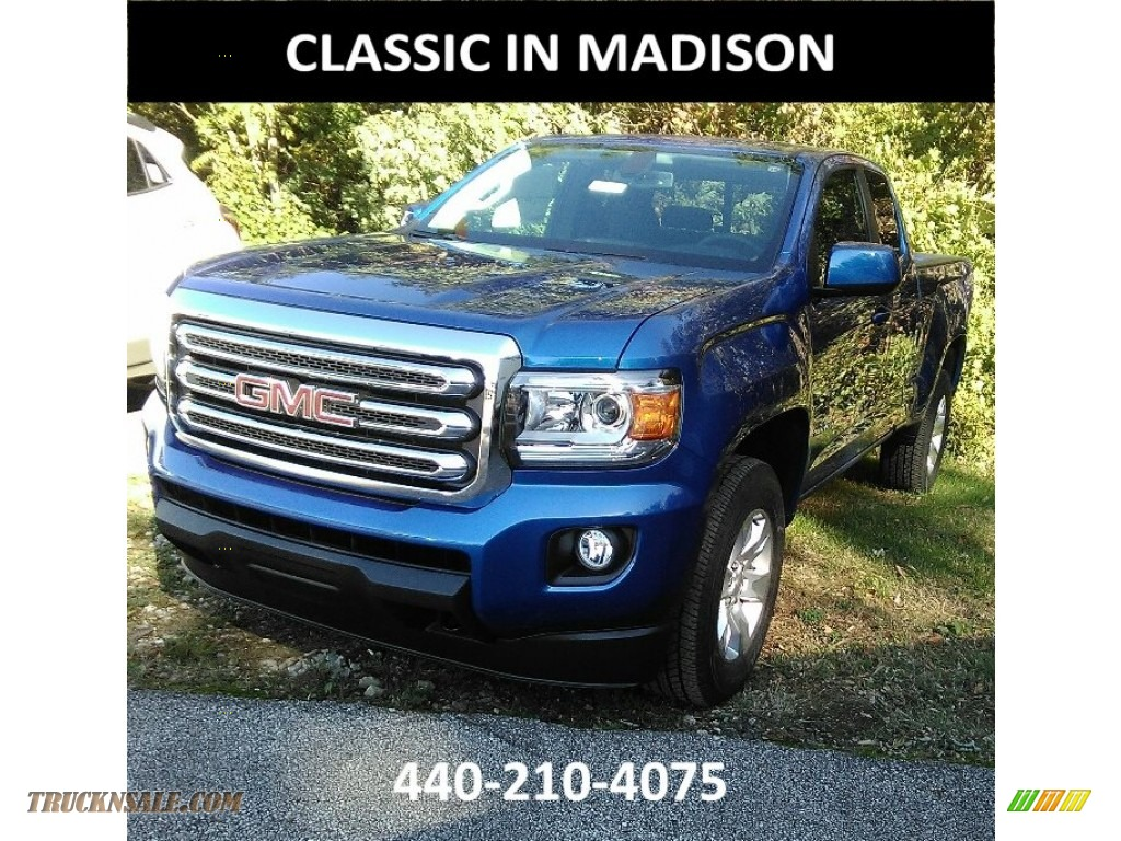 Marine Blue Metallic / Jet Black GMC Canyon SLE Extended Cab 4x4