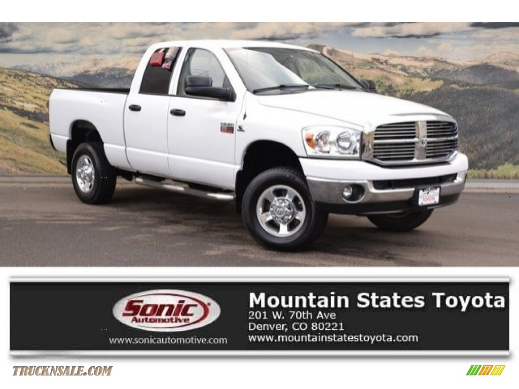 2008 Ram 2500 SLT Quad Cab 4x4 - Bright White / Medium Slate Gray photo #1