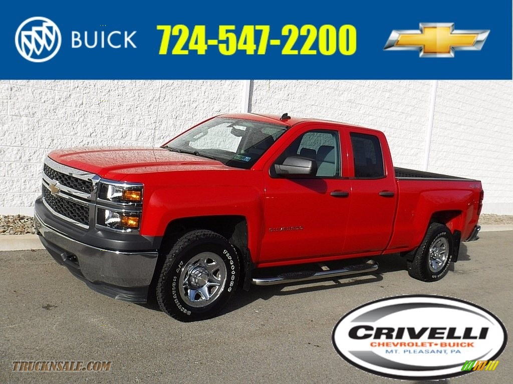 2014 Silverado 1500 WT Double Cab 4x4 - Victory Red / Jet Black/Dark Ash photo #1