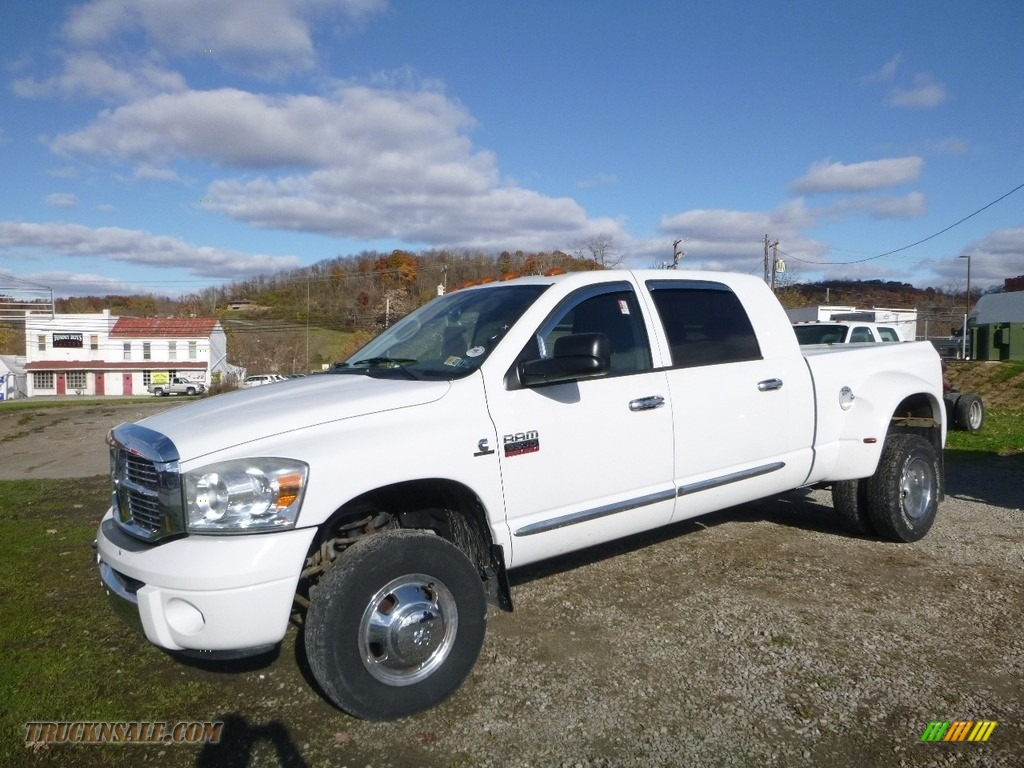 Bright White / Medium Slate Gray Dodge Ram 3500 Laramie Mega Cab 4x4 Dually