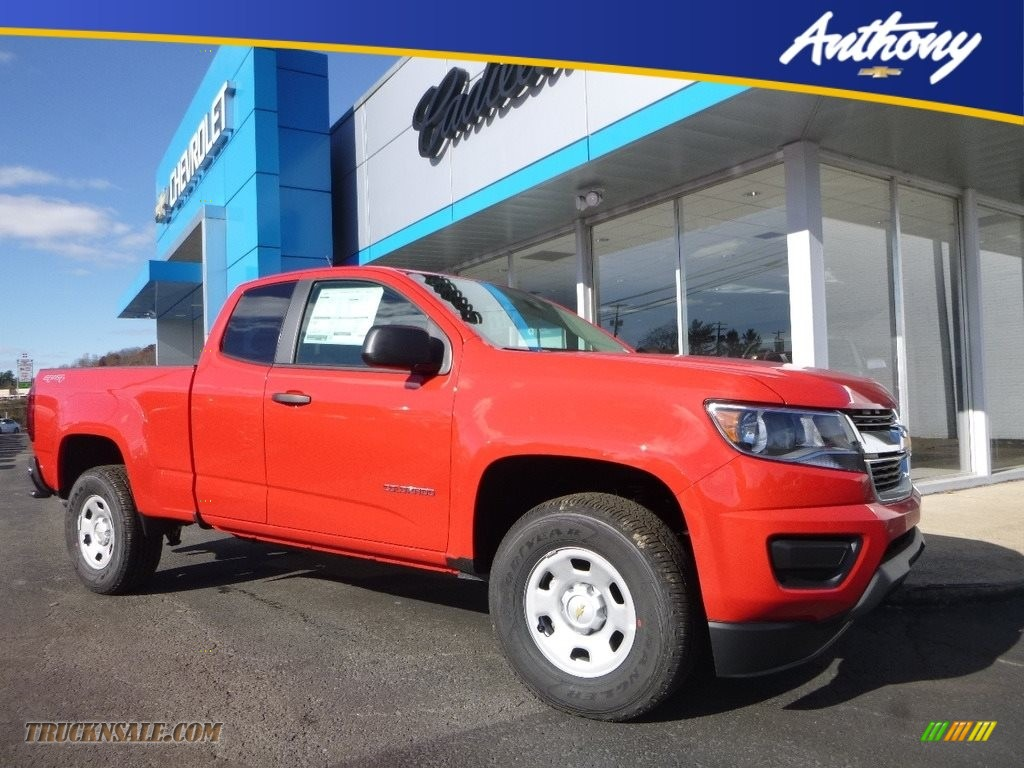 Red Hot / Jet Black/Dark Ash Chevrolet Colorado WT Extended Cab 4x4