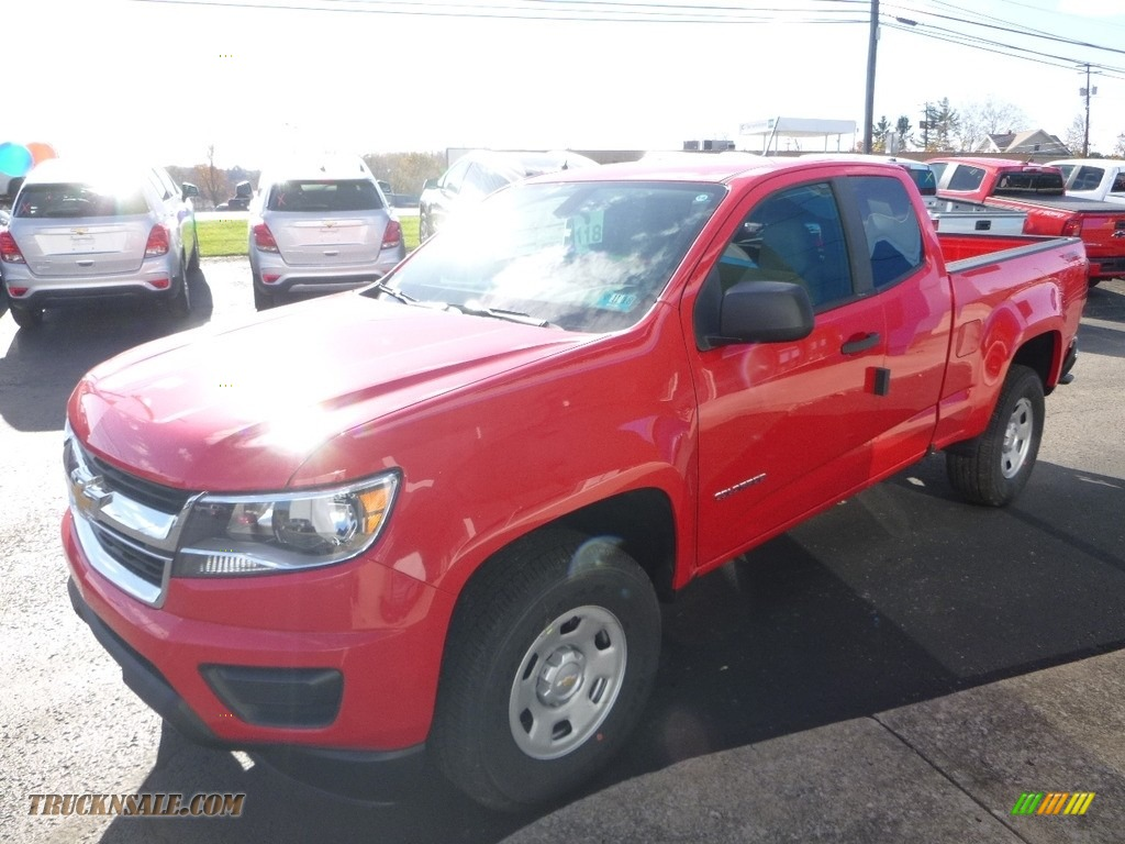 2018 Colorado WT Extended Cab 4x4 - Red Hot / Jet Black/Dark Ash photo #7