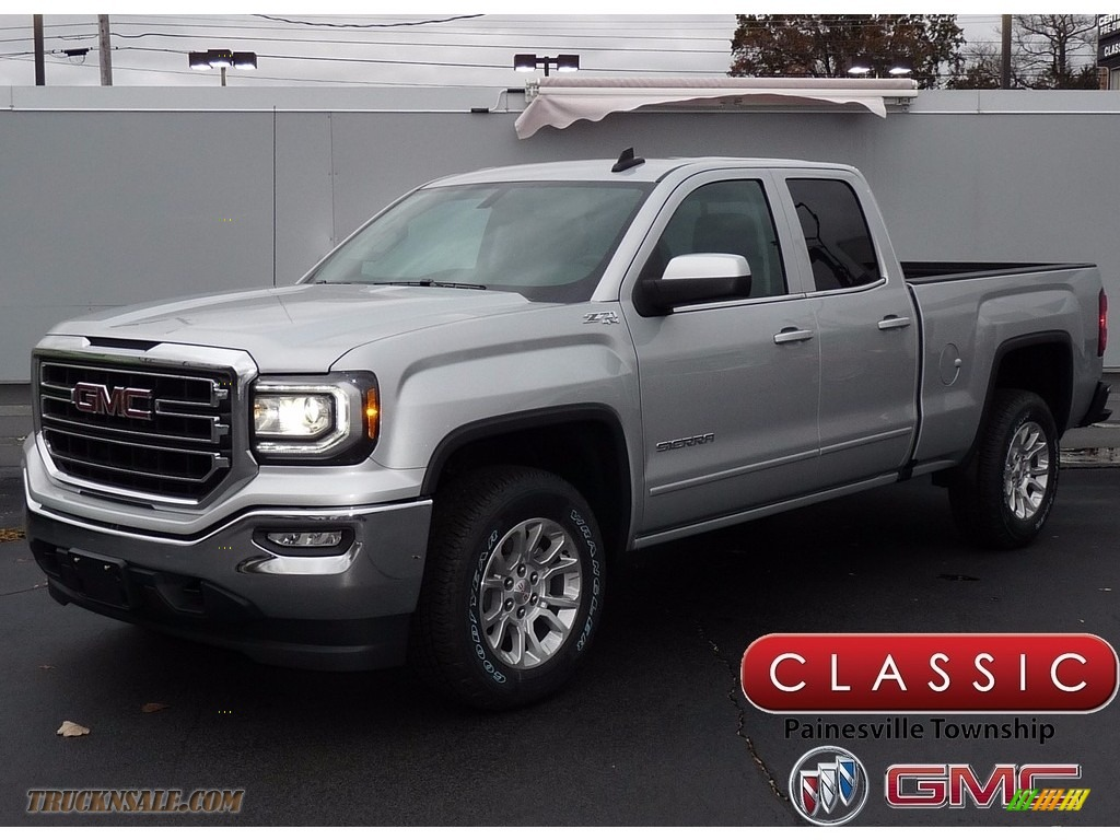 2018 Sierra 1500 SLE Double Cab 4WD - Quicksilver Metallic / Jet Black photo #1