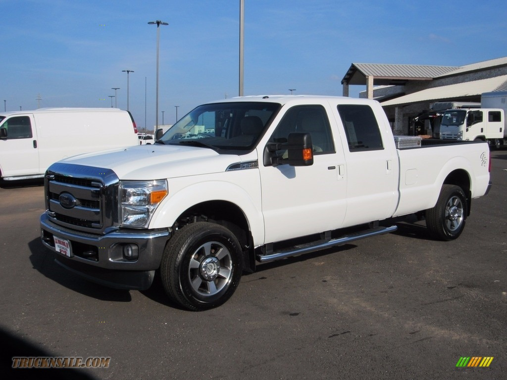 2015 F250 Super Duty Lariat Crew Cab 4x4 - Oxford White / Adobe photo #1
