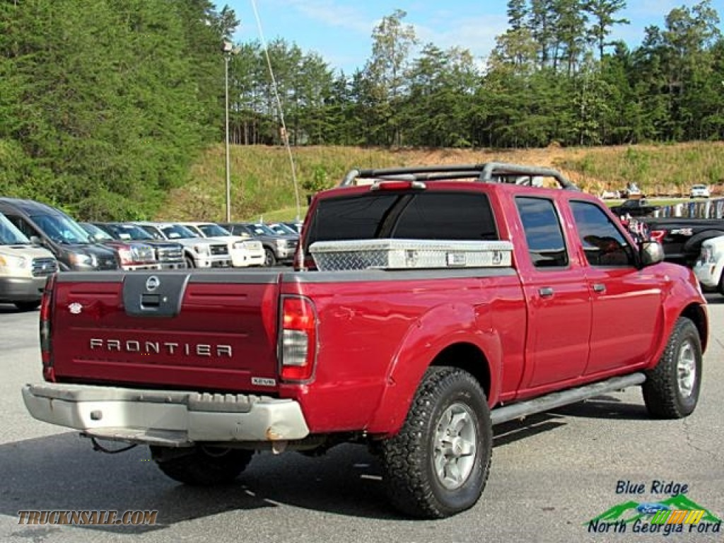 2004 Frontier XE V6 Crew Cab 4x4 - Red Brawn Metallic / Gray photo #6
