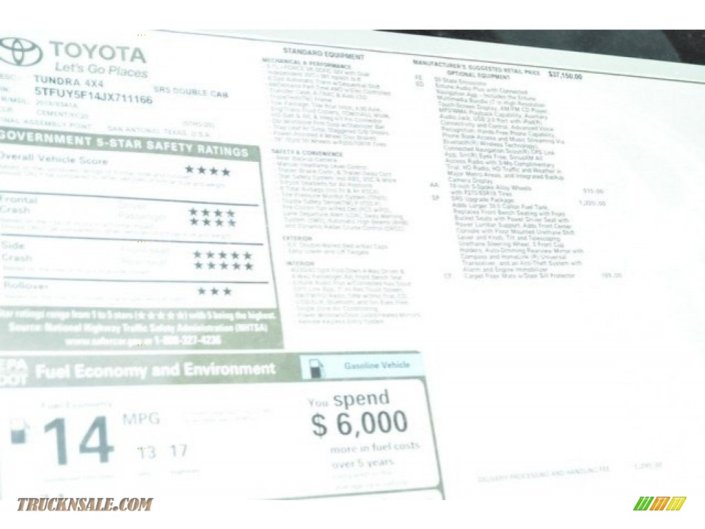 2018 Tundra SR5 Double Cab 4x4 - Cement / Graphite photo #10