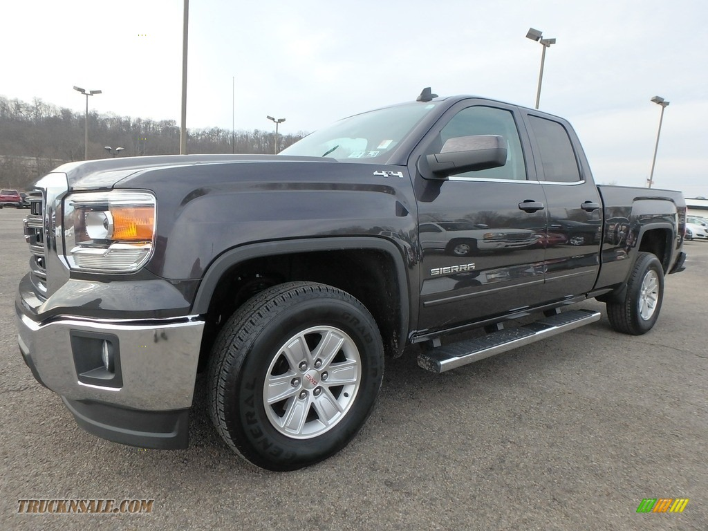 2015 Sierra 1500 SLE Double Cab 4x4 - Iridium Metallic / Jet Black photo #1