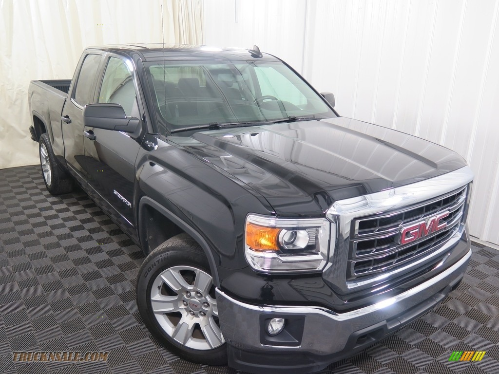 2015 Sierra 1500 SLE Double Cab 4x4 - Onyx Black / Jet Black photo #3
