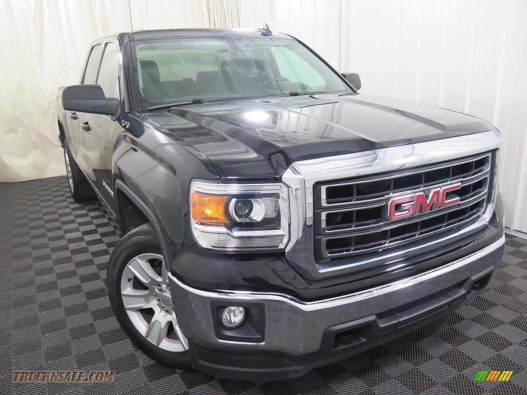 2015 Sierra 1500 SLE Double Cab 4x4 - Onyx Black / Jet Black photo #4