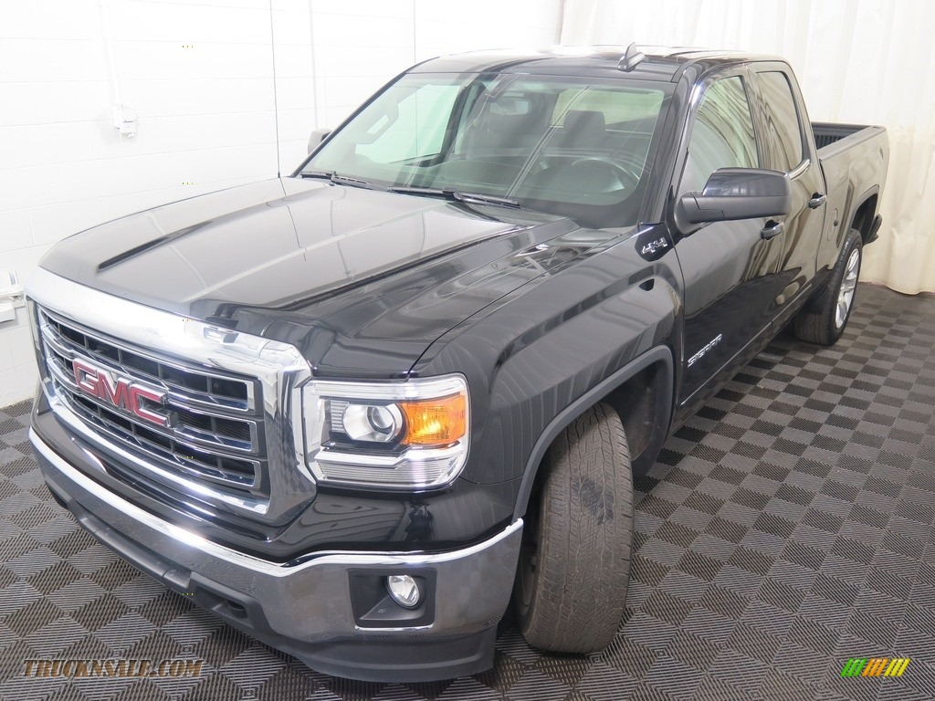 2015 Sierra 1500 SLE Double Cab 4x4 - Onyx Black / Jet Black photo #7