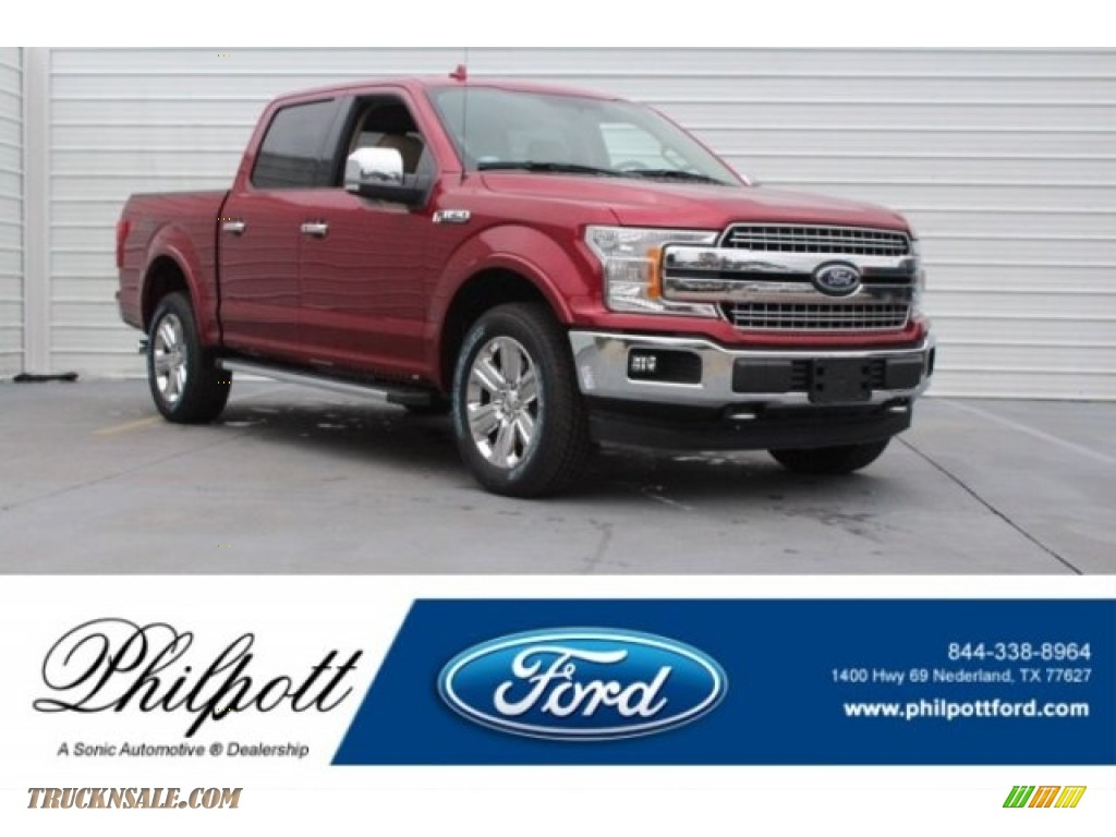 2018 F150 Lariat SuperCrew 4x4 - Ruby Red / Light Camel photo #1
