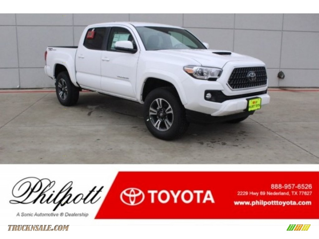 2018 Tacoma TRD Sport Double Cab - Super White / Black/Red photo #1