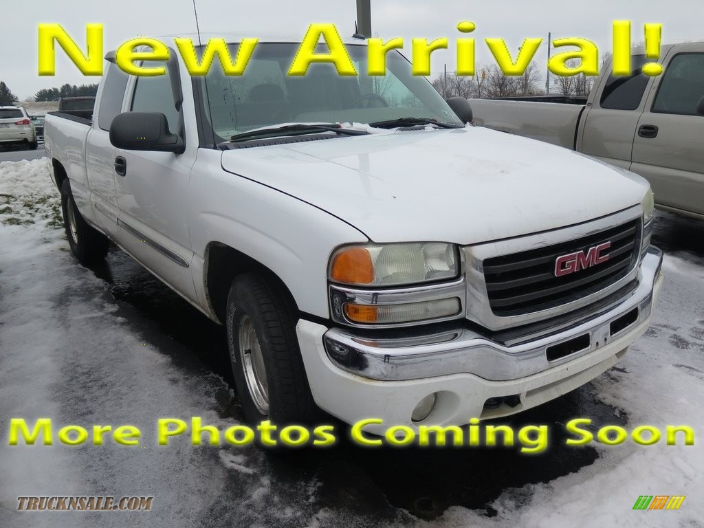 2003 Sierra 1500 SLE Extended Cab 4x4 - Summit White / Neutral photo #1