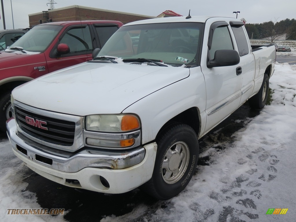2003 Sierra 1500 SLE Extended Cab 4x4 - Summit White / Neutral photo #4