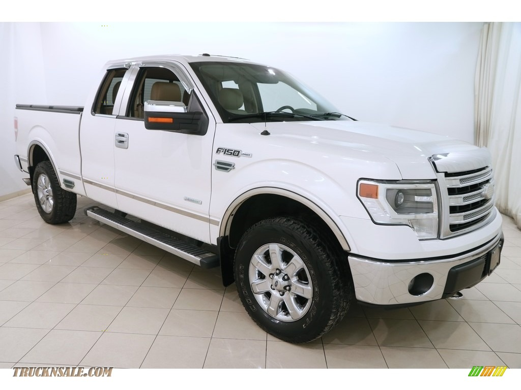 2013 F150 Lariat SuperCab 4x4 - White Platinum Metallic Tri-Coat / Adobe photo #1