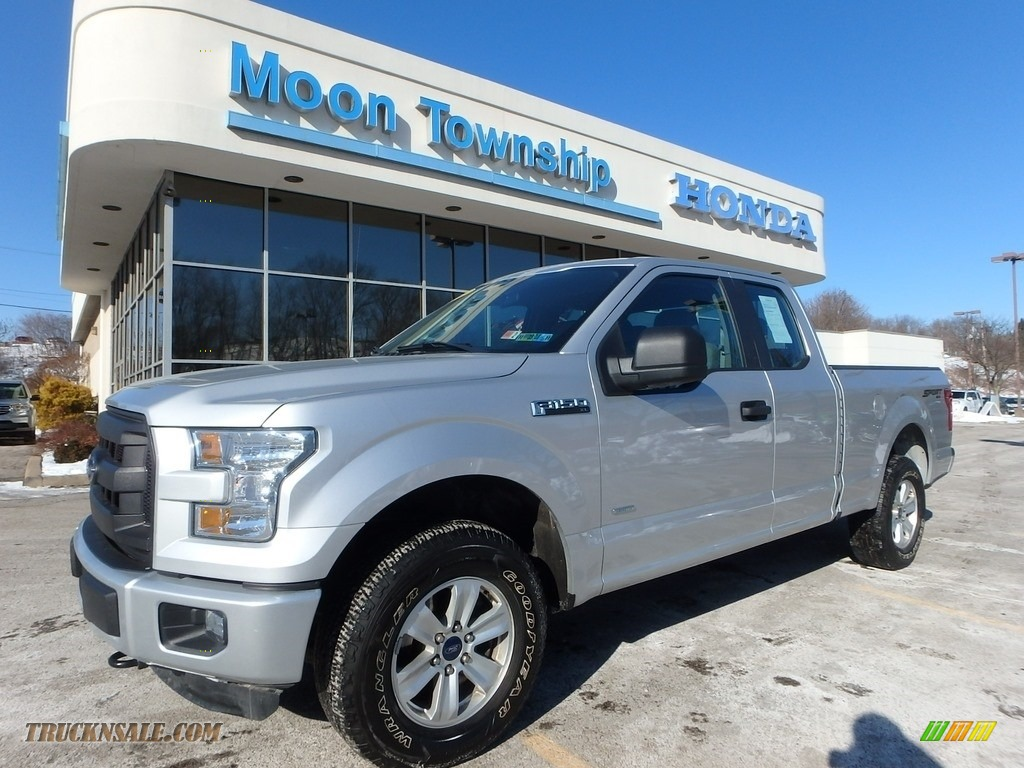 2015 F150 XL SuperCab 4x4 - Ingot Silver Metallic / Medium Earth Gray photo #1