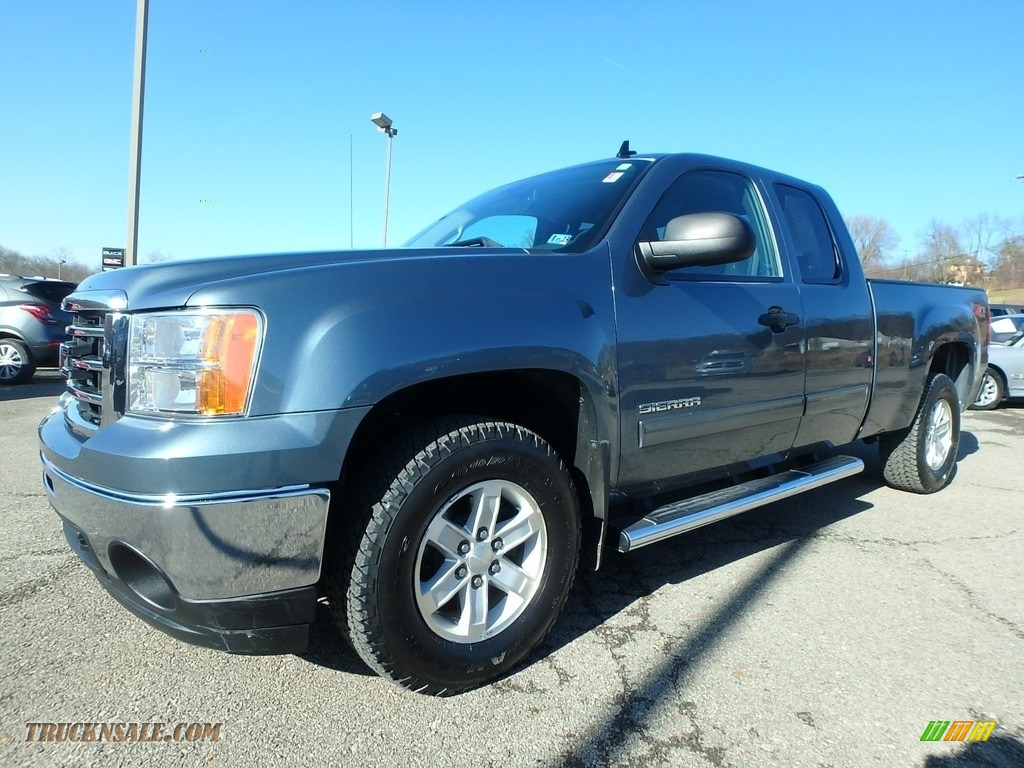 2013 Sierra 1500 SLE Extended Cab 4x4 - Stealth Gray Metallic / Ebony photo #1