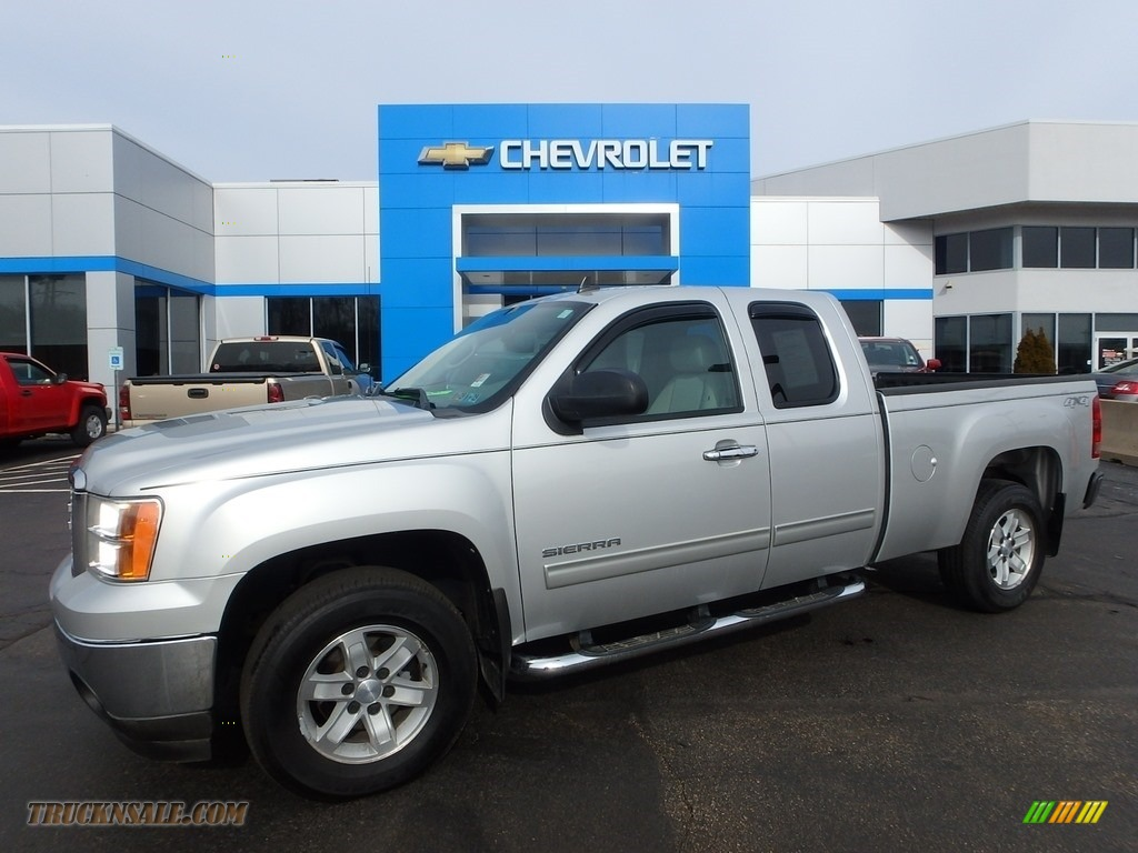 2010 Sierra 1500 SLE Extended Cab 4x4 - Pure Silver Metallic / Dark Titanium/Light Titanium photo #1