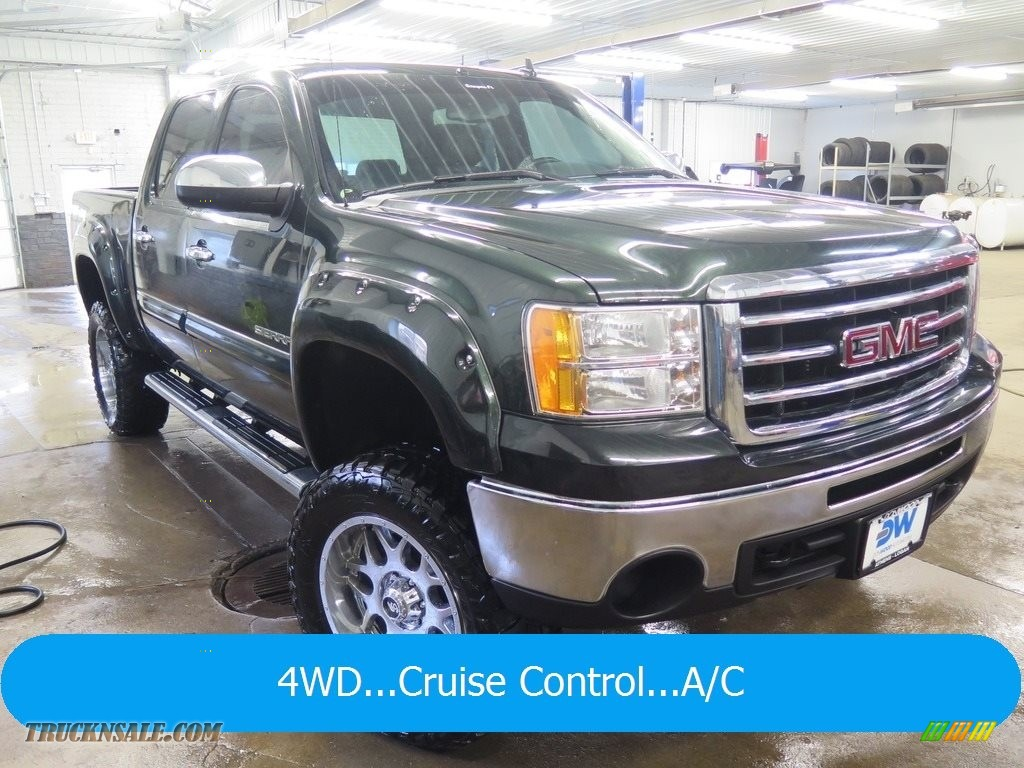 2013 Sierra 1500 SLE Crew Cab 4x4 - Mineral Green Metallic / Ebony photo #1
