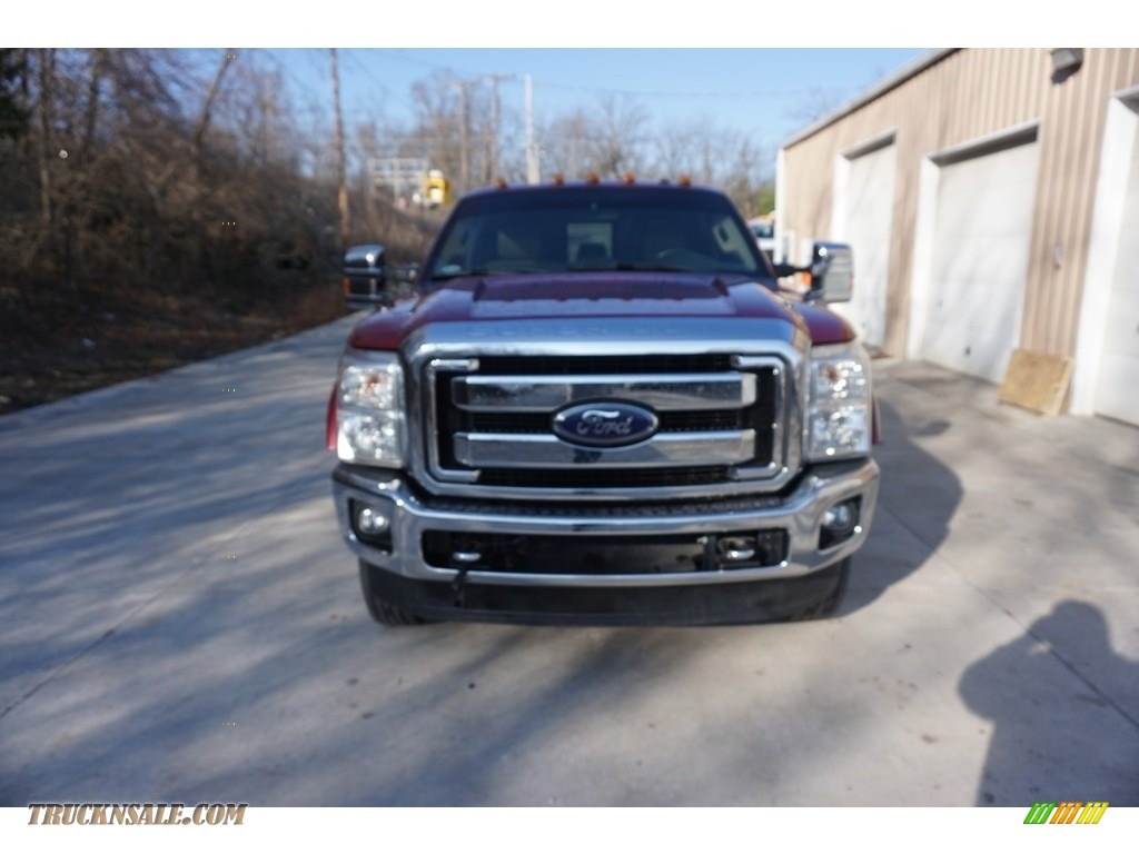 2014 F350 Super Duty Lariat Crew Cab 4x4 Dually - Ruby Red Metallic / Adobe photo #14