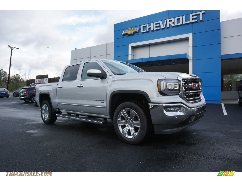 2018 Sierra 1500 SLT Crew Cab 4WD - Quicksilver Metallic / Dark Ash/Jet Black photo #1