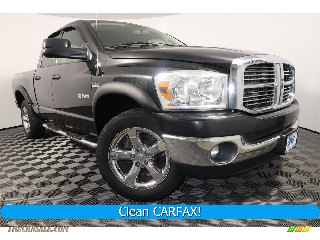 2008 Ram 1500 SLT Quad Cab 4x4 - Brilliant Black Crystal Pearl / Medium Slate Gray photo #1