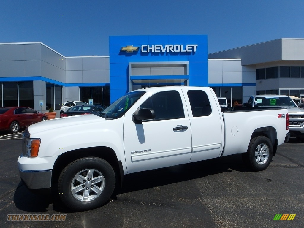 2012 Sierra 1500 SLE Extended Cab 4x4 - Summit White / Ebony photo #1