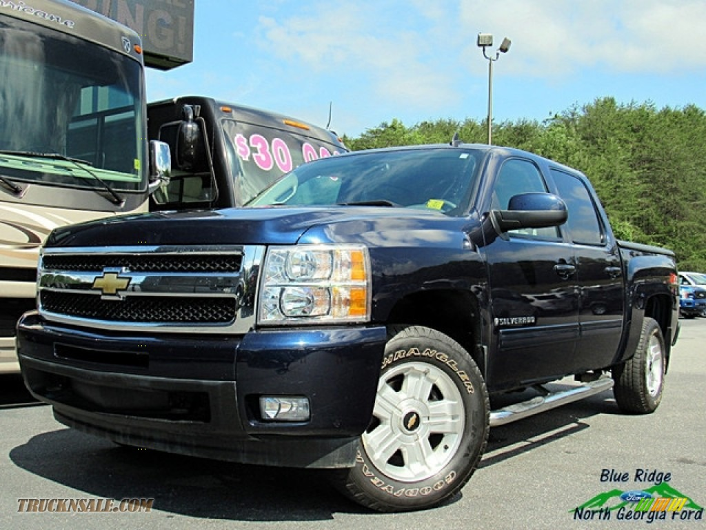 2009 Silverado 1500 LTZ Crew Cab 4x4 - Blue Granite Metallic / Light Titanium photo #1