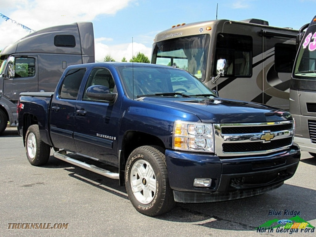 2009 Silverado 1500 LTZ Crew Cab 4x4 - Blue Granite Metallic / Light Titanium photo #7