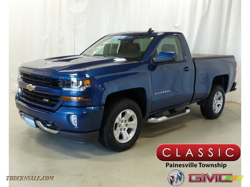 Deep Ocean Blue Metallic / Jet Black Chevrolet Silverado 1500 LT Regular Cab 4x4