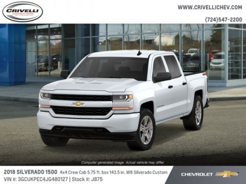 Summit White 2018 Chevrolet Silverado 1500 Custom Crew Cab 4x4