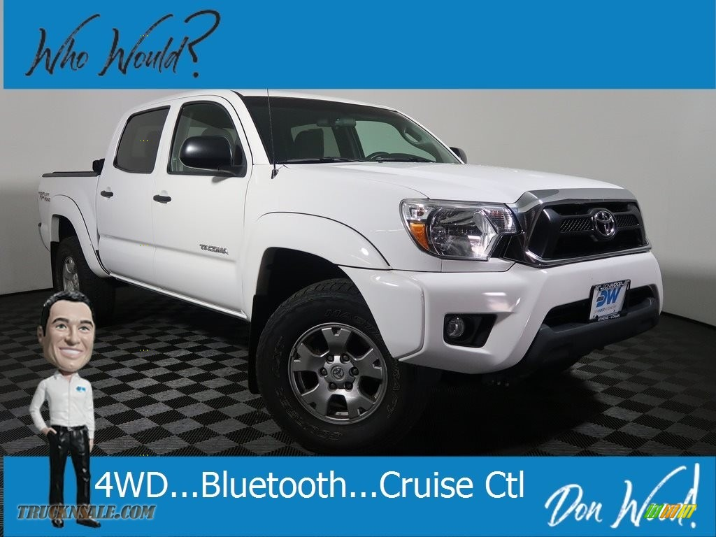 2015 Tacoma V6 Double Cab 4x4 - Super White / Graphite photo #1