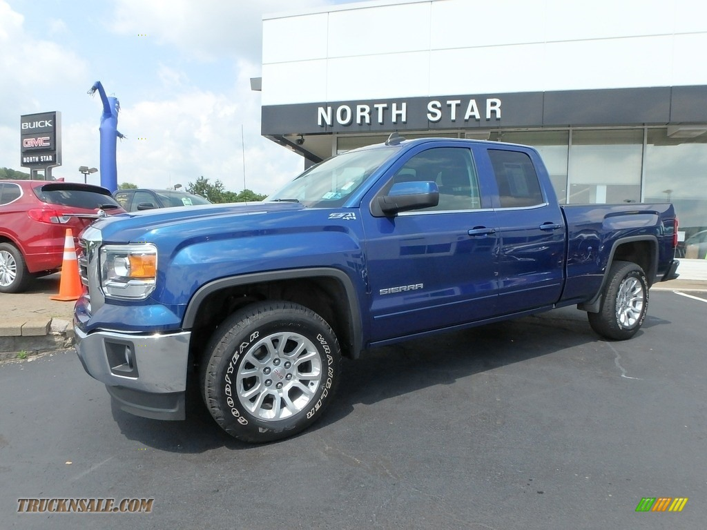 2015 Sierra 1500 SLE Double Cab 4x4 - Stone Blue Metallic / Jet Black photo #1