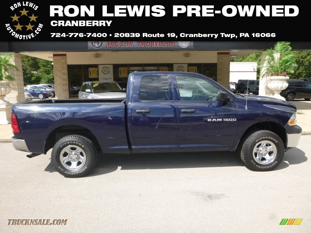 2012 Ram 1500 ST Quad Cab 4x4 - True Blue Pearl / Dark Slate Gray/Medium Graystone photo #1