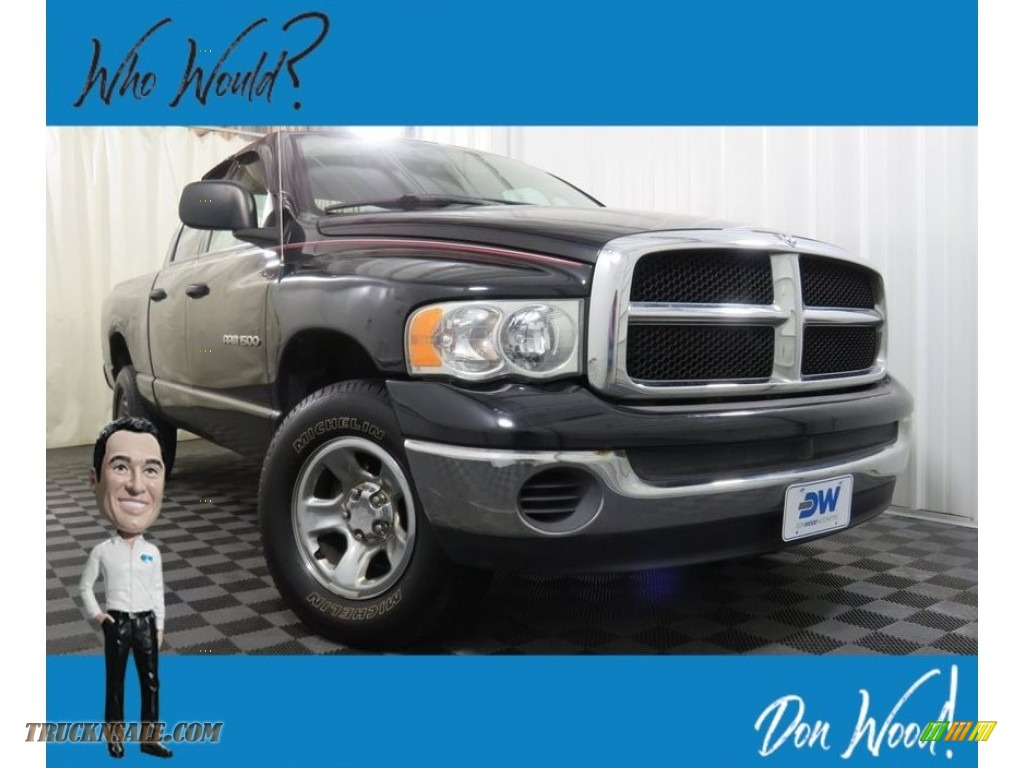 2005 Ram 1500 SLT Quad Cab 4x4 - Black / Dark Slate Gray photo #1