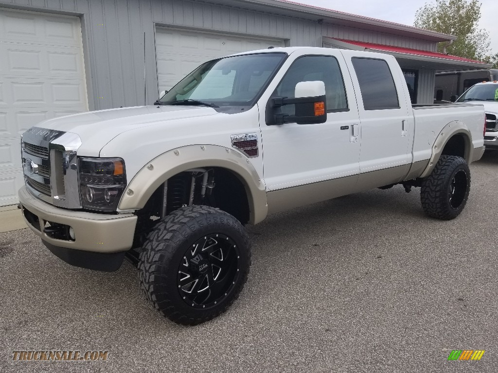 2008 F250 Super Duty Lariat Crew Cab 4x4 - Oxford White / Camel/Chaparral Leather photo #1