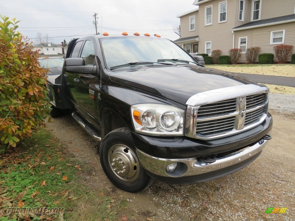 2008 Ram 3500 SLT Quad Cab 4x4 Dually - Brilliant Black Crystal Pearl / Medium Slate Gray photo #4