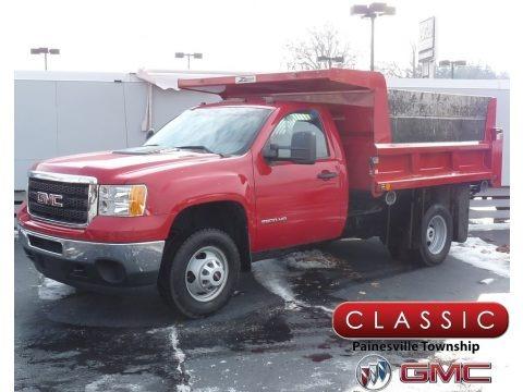 Fire Red 2011 GMC Sierra 3500HD Work Truck Regular Cab Chassis Dump Truck