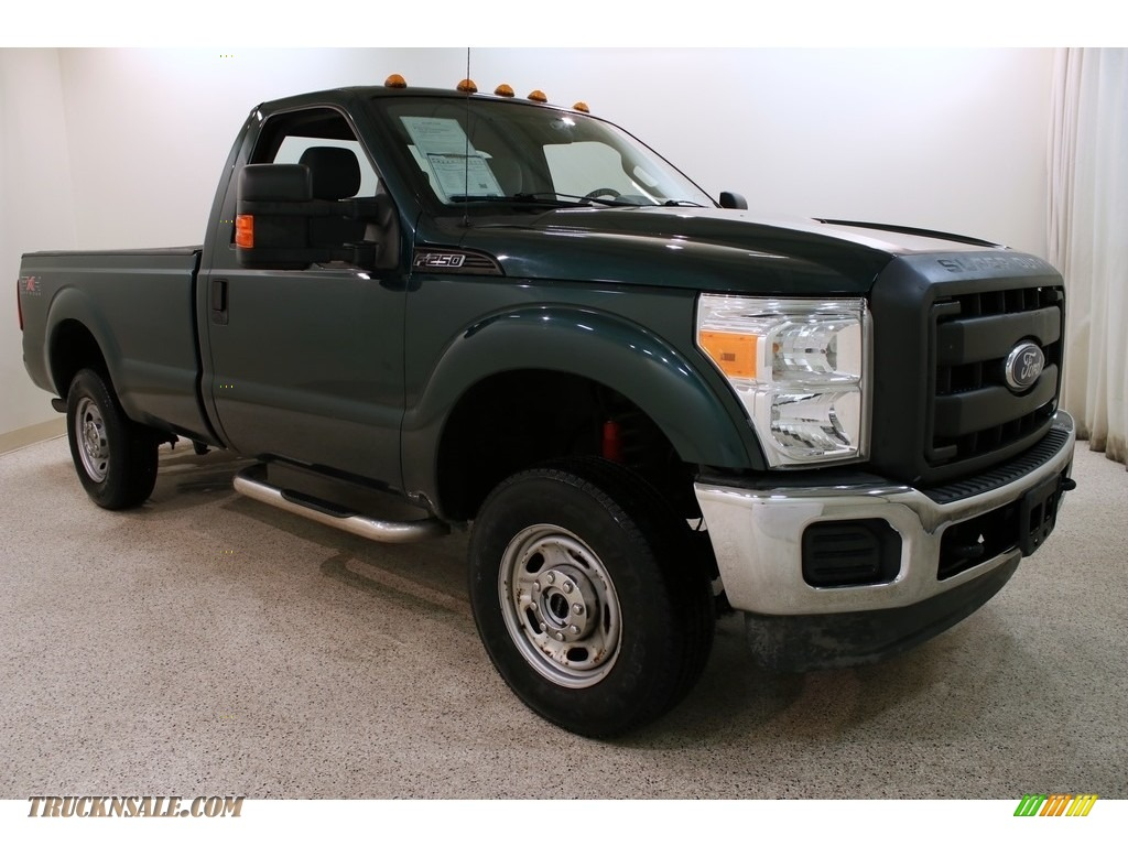 2011 F250 Super Duty XL Regular Cab 4x4 - Forest Green Metallic / Steel Gray photo #1