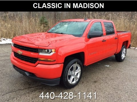 Red Hot 2018 Chevrolet Silverado 1500 Custom Crew Cab 4x4