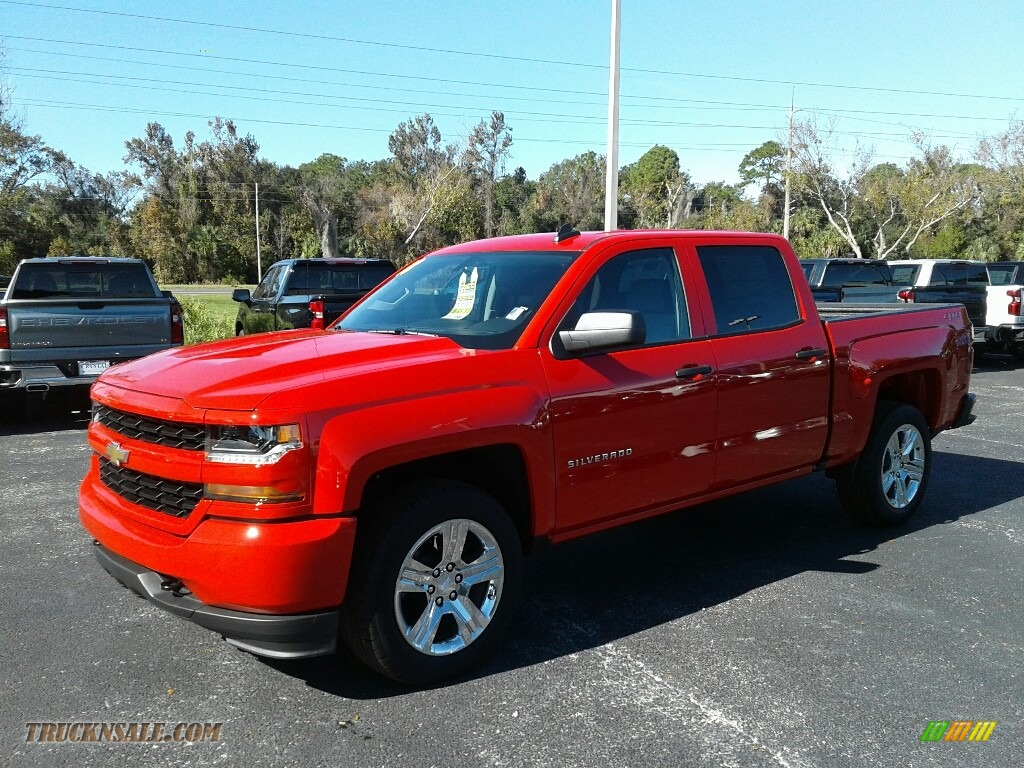 2018 Silverado 1500 Custom Crew Cab 4x4 - Red Hot / Dark Ash/Jet Black photo #1